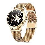 skynew Smartwatch für Damen, 1,09 Zoll Fitnessuhr für Android iOS Handy, IP68 Wasserdicht Smart Armbanduhr Damen mit Schrittzähler, Kleine Größe Fitness Tracker, Runde Sportuhr mit Pulsuhren