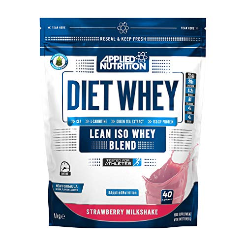 Applied Nutrition Diet Whey Protein Powder, High Protein, Low Carb, Low Sugar, Weight Loss with CLA, L Carnitine, Green Tea, High PhD Supplement 1kg - 40 Servings (Strawberry Milkshake)