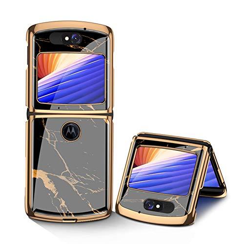 MingMing Hülle für Motorola Razr 5G Hardcase Stoßfest Schutzhülle PC + 9H Gehärtete Glasabdeckung, Superdünne handyhülle für Motorola Razr 5G, Gold schwarz