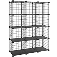 High Capacity & Excellent Stability - Constructed with PP plastic plates, ABS connectors and iron wire mesh shelves, this interlocking rack is sturdy and durable; each shelf can hold up to 10 kg; included screws and expansion bolts to fix the stand t...