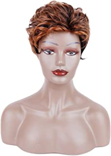 Queentas Short Auburn Brown Wigs for Black Women with Highlight Natural Curl Pixie Cut Layer Styling Synthetic Hair Wig(Auburn Brown)