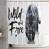 VINISATH Duschvorhang,Panther Aquarell Malerei Raubtiere wild,wasserdichter Badvorhang mit 12 Haken Duschvorhangringen 180x180cm