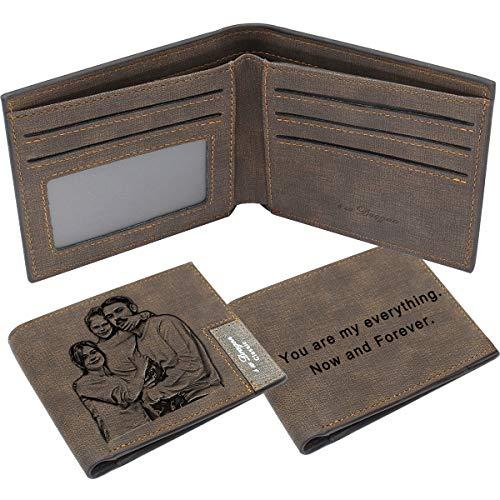 Billetera Personalizada para Hombre, Carteras Personalizadas con Foto, Plegable Cuero Cartera Grabada Regalos del Dia del Padre