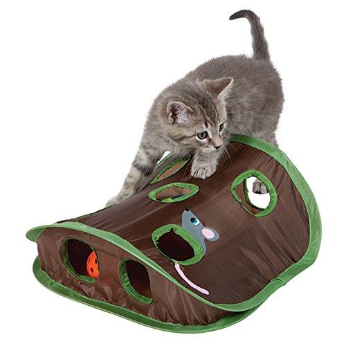 Katzenspielzeug, 9 Löcher, interaktives Mäuse-Jagd mit Glockenball von Kätzchen, zusammenklappbar, interaktives Intelligenzspielzeug, fantastisch für Kätzchen und Katzen