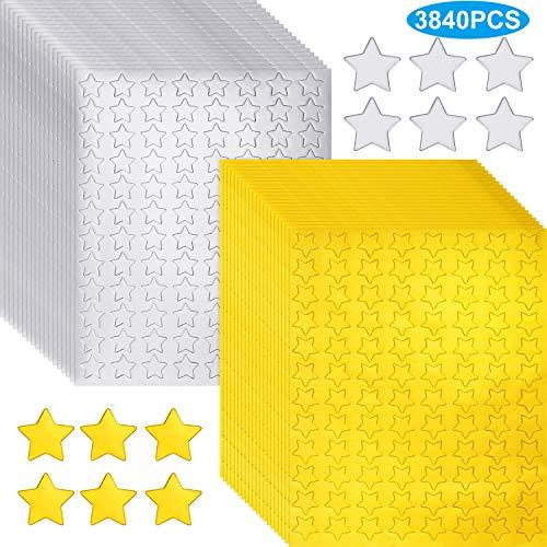 3840 Stücke Metallische Stern Aufkleber Gold Stern Folien Etiketten Silber Stern Folien Áufkleber Selbstklebende Stern Aufkleber für Dekoration Zubehör