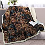 SELLA Terrier Throw Blanket 3D Bulldog Sherpa Fleece Blanket Colección para Perros Sábana de Felpa para Animales Edredón Fino, Dobermann, 150cmx200cm