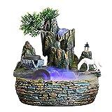 WBDZ Fuente de Agua de Mesa, Cascada de Fuente de Escritorio de relajación Interior, Fuente de Cascada iluminada de Caballo Blanco de meditación de Resina para Oficina en casa (tamaño: Mediano)
