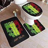 GUVICINIR Alfombrillas de baño Set 3 Piezas,Green Jamaica of Reggae Music Slogan Just Relax Graphics Yellow Rasta Rastafari,Alfombra de Piso Antideslizante Alfombra de Inodoro