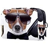 Bolsa de Maquillaje de Viaje Bolsa de cosméticos Bolsa Monedero Bolso de Mano con Cremallera - Perro Sombrero Humor Russell Terrier Sunglass