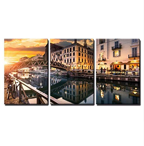 HHXX9 3 Pieces Canvas Wall Art Bridge Across The Canal at The Evening in Milan Italy Painting Home Decor 40X60Cmx3 No Frame