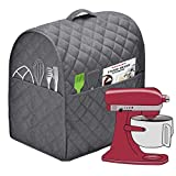 Stand Mixer Dust Cover with 3 Pockets Compatible with KitchenAid Tilt Head, Easy Cleaning ,Can Ironable (Dark Gray, Fits for 6-8 Quart)