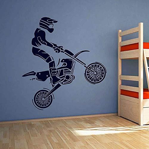 Pegatina de pared de Motocross, decoración del hogar, habitación de niños, decoración de dormitorio para niños, Moto, bicicleta, motocicleta, jugador, Mural A2 57x62cm
