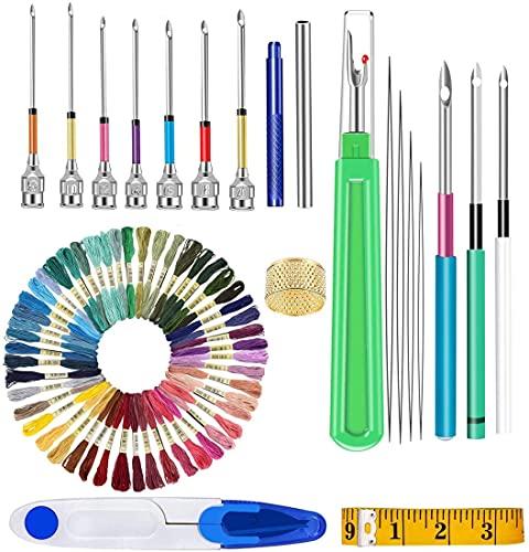 Sweetone Kit de bordado, 20 piezas punch needle kit, Punto de Cruz Kit + 50 Hilos de Color, combinación de juego de herramientas artesanales de aguja de punzonado de bordado