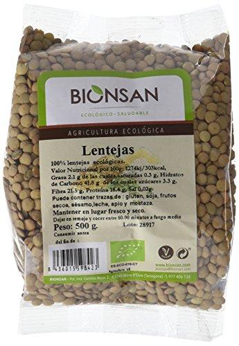 Bionsan Lenteja en grano Ecológica | 6 Bolsas de 500 gr | Total: 3000 gr