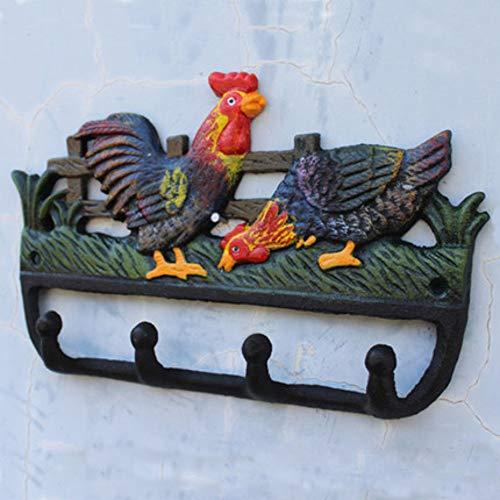 Joeesun Village européen et américain vintage artisanat en fer forgé en fer forgé peint crochet décoration murale coq crochet décoratif longueur 25 cm largeur 3,5 cm hauteur 17 cm