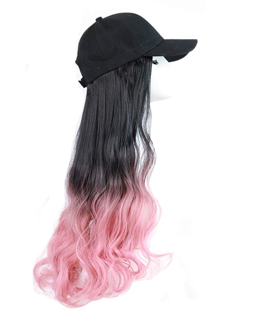 Black Baseball Cap with Pink Long Wavy Synthetic Wig Washington Mall Mixed Product Color