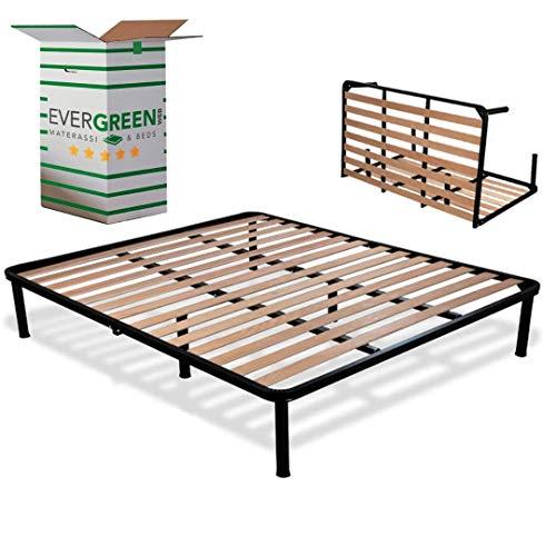 EvergreenWeb - Sommier Lit Double Pliable 140x200 Haut 35 cm Lattes en Bois avec 6 Pieds Amovible