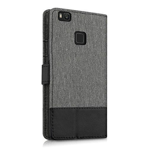 kwmobile Huawei P9 Lite Hülle - Kunstleder Wallet Case für Huawei P9 Lite mit Kartenfächern und Stand - Grau Schwarz - 3