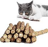 LIZHIGE 30 Palitos Naturales Catnip Gatos, Juguete para morder para Gatos 100% orgánico Natural Matatabi Dental Treats, Limpieza Dientes Saludable Cuidado y ayudan con el sarro y el Mal Aliento