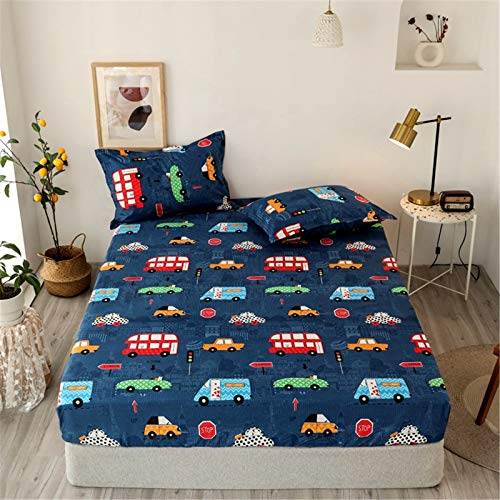 YYSZM Three-Piece Bedding: 1 Sheet, 2 Pillowcases, 100% Polyester Small Animal And Car Stretch Board Polyester Mattress Cover, Non-Slip, Hypoallergenic, Easy To Care