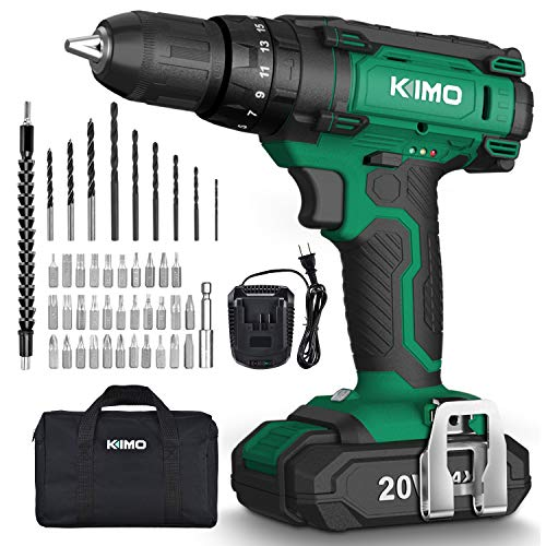 "Cordless Drill Driver Kit - 20V Impact Drill Set of 350 In-lb Torque, 0-1350RPM Variable Speed, 3/8"" Keyless Chuck, 21+1+1 Clutch,Built-in LED&44pcs Drill Bits for Concrete Wood Metal Home Improvement"