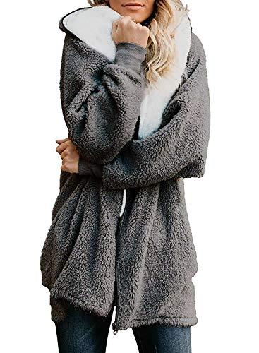 ReachMe Women's Oversized Full Zip Up Sherpa Hoodie Fleece Jacket with Pockets(Dark Grey,XL)