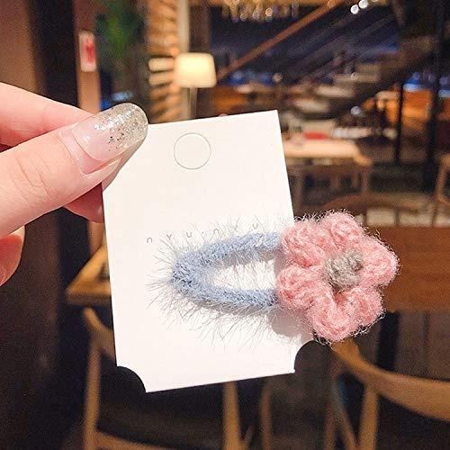 Accessori per Capelli Styling Belles Fils de Laine Fleur Lined Clips Snap Cheveux (Bleu Fleur Jaune) (Couleur : Blue Pink Flower)