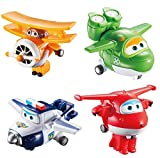 Auldey - Super Wings Pack de 4 Figurines transformables 'Transform-a-bot' 5 cm - JETT/GRAND ALBERT/MIRA/PAUL-YW710610