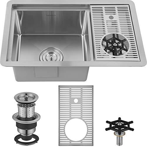 AguaStella AS1514XSS Bar Sink with Glass Rinser Stainless Steel Undermount Prep Kitchen Sink 23-1/4 x 14 Inches Single Bowl