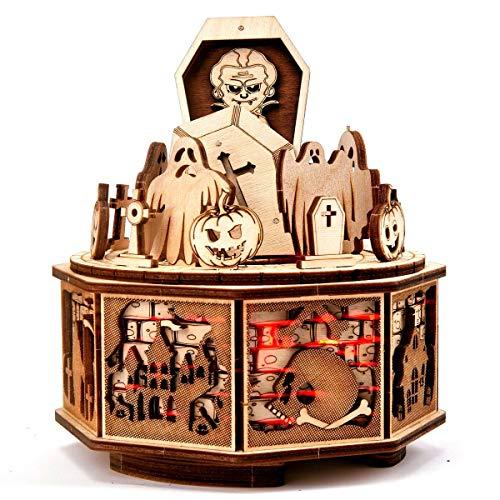 Wood Trick Happy Halloween - Puzzle de madera 3D con diseño de construcción mecánica sin pegamento, sin pegamento