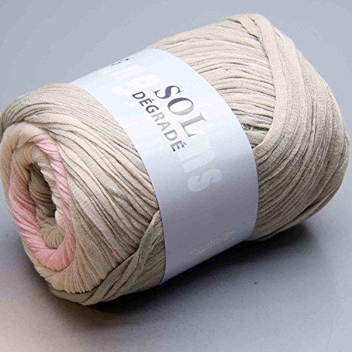 Lang Yarns Sol Degrade Bändchengarn Fb. 109 Pastel Mix (Creme, Rosa, Grau) aus 100 % Baumwolle
