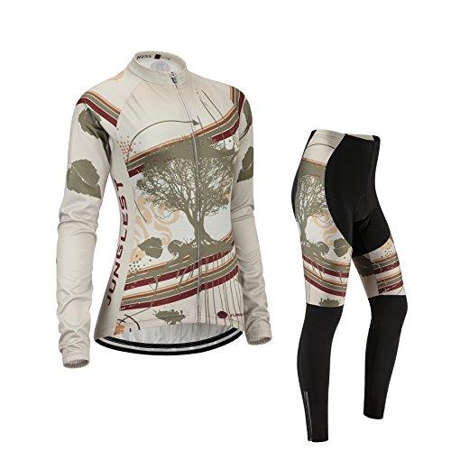 (Cuscino 3D)(Tipo:Set taglie:M) Per prestazioni traspirazione manica Ciclismo traspirante gilet antivento Moda lunga Maglia donna Jerseys