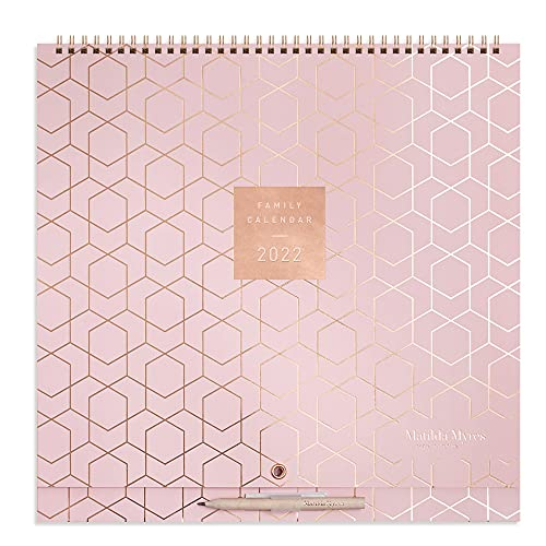 Matilda Myres 2022 Family Wall Calendar – 5 Persons – Activity Stickers – Pink