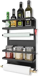 Refrigerator Organizer 4 Tier Magnetic Fridge Spice Rack Paper Towel Holder Multi-purpose Storage Shelf with 5 Hooks, Black