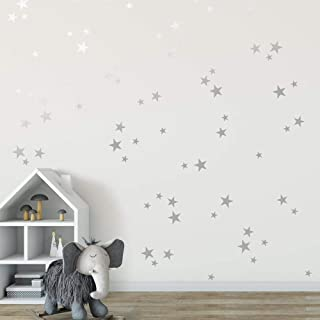 Silver Stars Mix Removable Wall Decals for Kids Room...