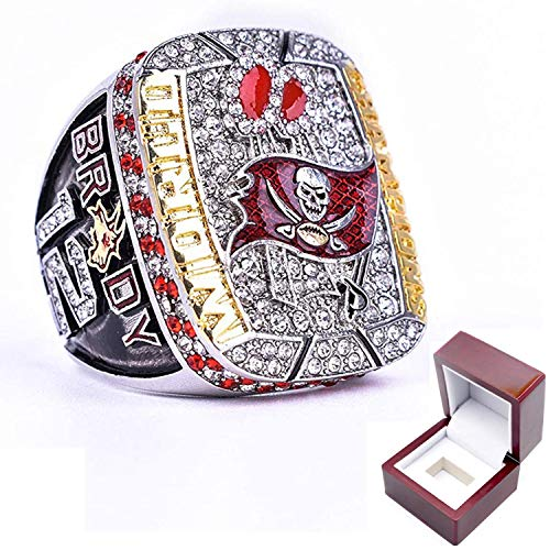 2021 Tampa Bay Super''Bowl Championship Fans Ring Buccaneers Memorial Ring Tom 12 Brady Goat, with Box, Keepsake Collection Birthday Gifts for Father, Boy Friend (12)