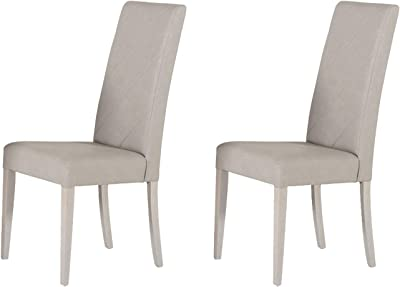 Benjara Wooden Dining Chair with Leatherette Seat and Backrest, Set of 2, Gray
