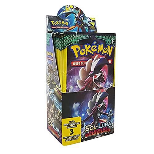 Pokémon Sol y Luna Albor de Guardianes Caja de 24 Sobres, Juego de Cartas Coleccionables Pokémon Serie Sol y Luna Albor de Guardianes, Cartas Pokémon en Castellano (Cada sobre Contiene 3 Cartas)