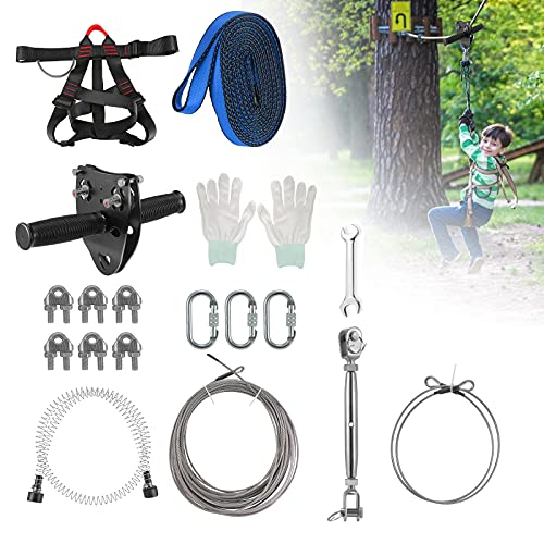 Zipline Kits for Backyards, Zipline Trolley for Kids and Adults Outdoor, Half Body Safety Belt with Spring Brake, 80ft Line up to 330 lbs Outdoor Playground Entertainment