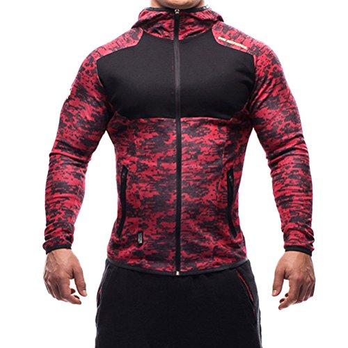 SHTH Herren Sweatjacke mit Kapuze, Kapuzenjacke Zip Hoodie für Gym Fitness Training (Rotcamo, XL)