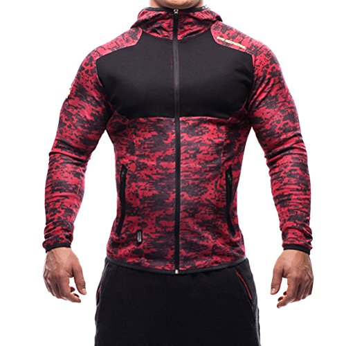 SHTH Herren Sweatjacke mit Kapuze, Kapuzenjacke Zip Hoodie für Gym Fitness Training(Rotcamo,M)