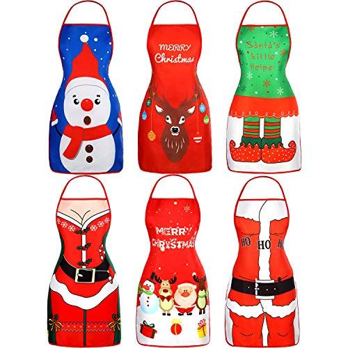 SATINIOR 6 Pezzi Grembiuli di Natale Adulto Babbo Grembiule Natale Cucina Grembiule per Natale Ristorante Casa Cucina Forniture
