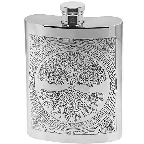"""English Pewter Company Flachmann aus Zinn, mit keltischem Design """"Baum des Lebens"""""""