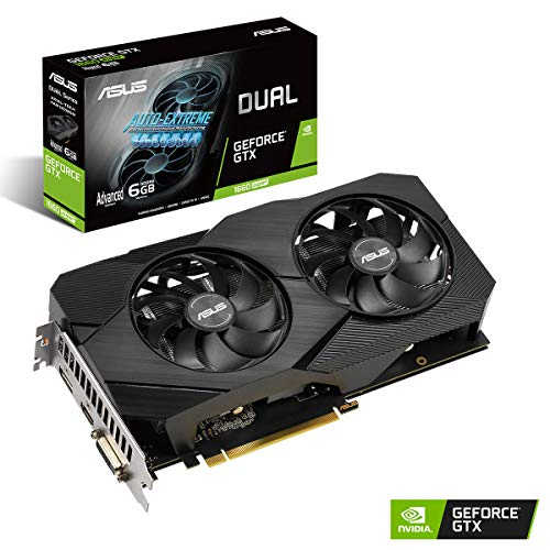 ASUS Dual Nvidia GeForce GTX 1660 Super 6GB EVO Advanced Edition Gaming Grafikkarte (GDDR6 Speicher, PCIe 3.0, 1x HDMI 2.0b, 1x DVI, 1x DisplayPort 1.4, DUAL-GTX1660S-A6G-EVO)