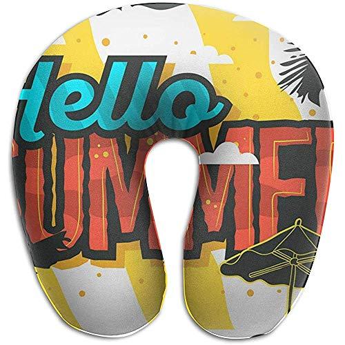 Marlon Kitty Hello Summer - Cojín con Forma de U, Almohadilla para el Cuello, cojín, Unisex y Comodidad en los Viajes