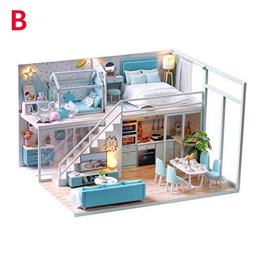 DIY Dollhouse mit Licht - Assembly Dachgeschoss Miniaturhaus mit Musikbewegung Holz Puppenhaus kit Geburtstags Weihnachts Geschenk