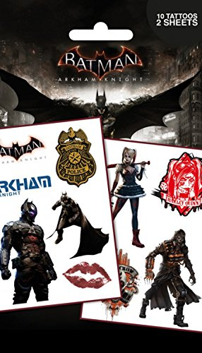 1art1 Batman, Arkham Knight, Personnages, 10 Tattoos Paquet De Tatouages (17x10 cm) + 1x Sticker Surprise