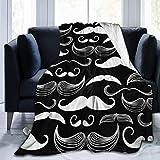 Hoswee - Manta de microfibra ultrasuave para cama o sofá, color blanco y negro