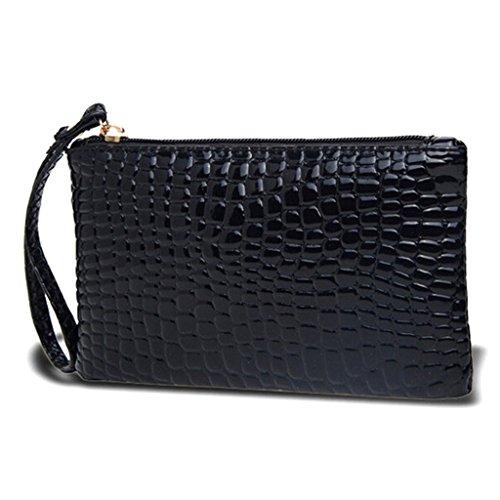 Huntgold - Cartera/Pochette de mujer con cremallera - Color negro - 1 unidad