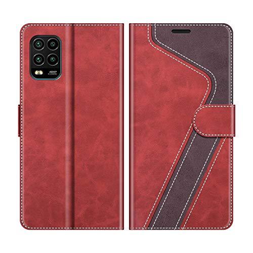 MOBESV Handyhülle für Xiaomi Mi 10 Lite Hülle Leder, Xiaomi Mi 10 Lite Klapphülle Handytasche Hülle für Xiaomi Mi 10 Lite Handy Hüllen, Modisch Rot